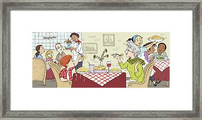 A Spaghetti Lunch--with Text Framed Print