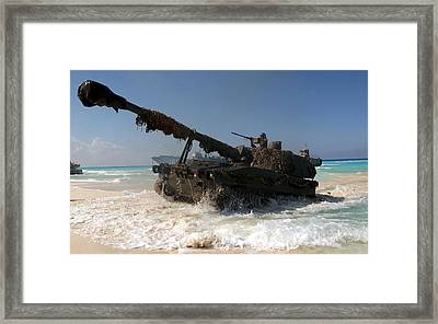 A Spanish Army M109a5 155mm Framed Print by Stocktrek Images