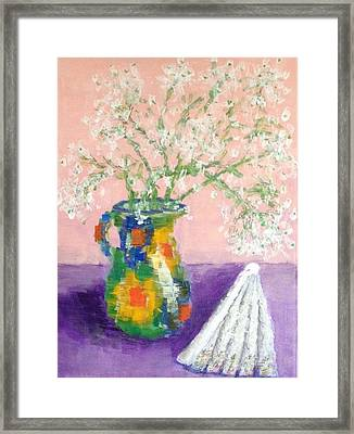 A Spanish Jar And A Fan Framed Print