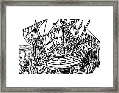 A Spanish Ship Framed Print by Spanish School