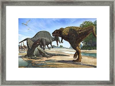 A Spinosaurus Blocks The Path Framed Print by Sergey Krasovskiy