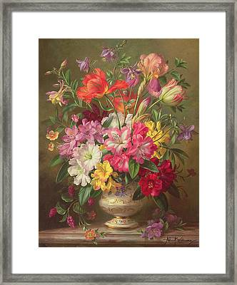 A Spring Floral Arrangement Framed Print by Albert Williams