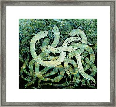 A Squirm Of Eels At The Bottom Of The Pond Framed Print by Nareeta Martin