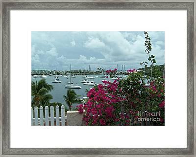 A St Maarten Marina Framed Print