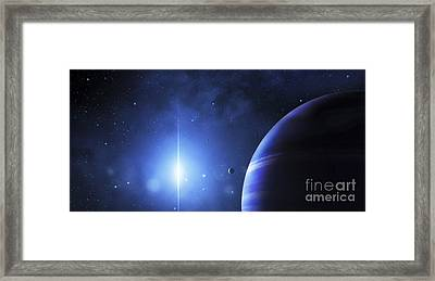 A Star Provides A Cool Glow On A Nearby Framed Print by Justin Kelly