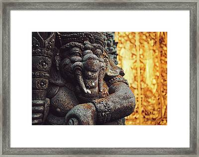 A Statue Of A Intricately Designed Holy Hindu Elephant Ganesha In A Sacred Temple In Bali, Indonesia Framed Print