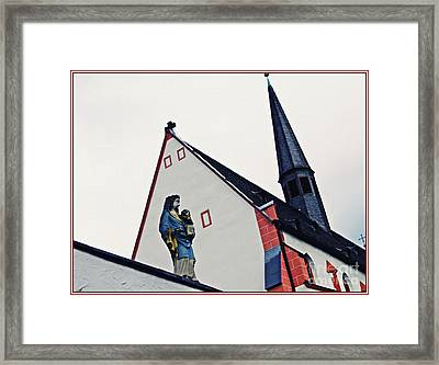 A Statue Of The Virgin Mary In Mainz  Framed Print