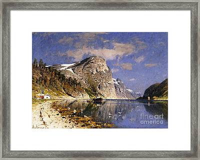 A Steamer In The Sognefjord Framed Print by Adelsteen Normann
