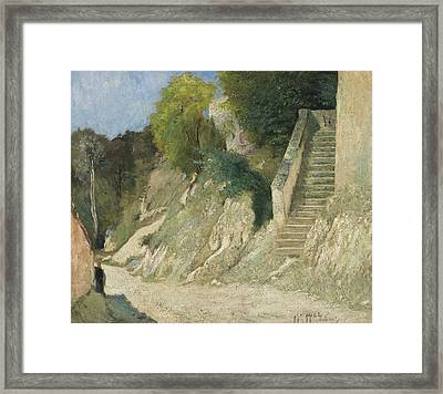 A Steep Ascent In Montigny-sur-loing Framed Print by Carl Fredrik Hill