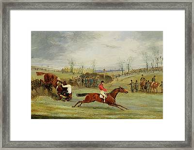 A Steeplechase - Another Hedge Framed Print by Henry Thomas Alken