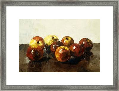 A Still Life Of Apples Framed Print by Lesser Ury