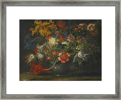 A Still Life Of Flowers In A Blue-and-white Porcelain Bowl Framed Print by Celestial Images