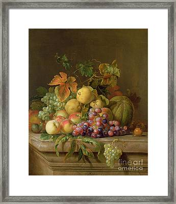 A Still Life Of Melons Grapes And Peaches On A Ledge Framed Print by Jakob Bogdani