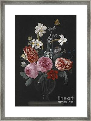 A Still Life Of Tulips, Roses, Daffodils And Other Flowers, With Butterflies, Framed Print by Celestial Images