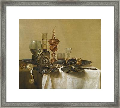 A Still Life Framed Print by Willem Claeszoon Heda