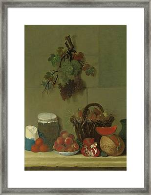 A Still Life With A Wheat Lined Basket Of Pears Framed Print