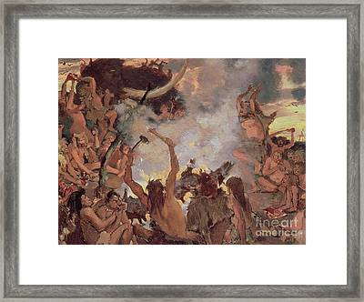A Stone Age Feast Framed Print by Victor Mikhailovich Vasnetsov