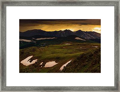 Framed Print featuring the photograph A Stormy Alpine Sunset by John De Bord