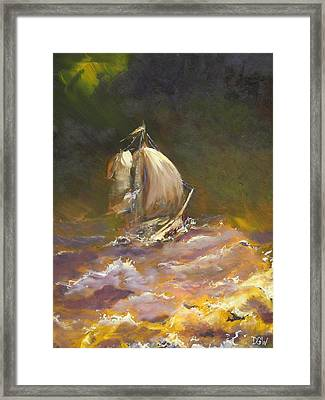 A Stormy Night At Sea Framed Print