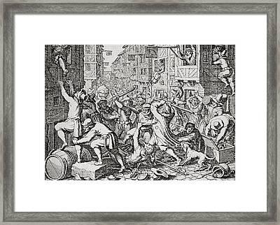 A Street Brawl In London, England In Framed Print