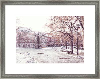 Framed Print featuring the photograph A Street In Warsaw, Poland On A Snowy Day by Juli Scalzi