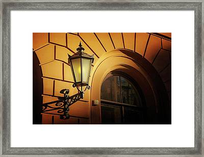 A Street Lamp In Lisbon Portugal  Framed Print by Carol Japp