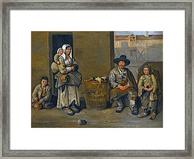 A Street Scene With A Poultry Seller And His Family Framed Print by Jean Michelin