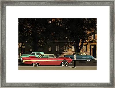 A Street With Oldtimers Framed Print