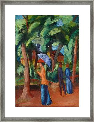 A Stroll In The Park Framed Print by August Macke