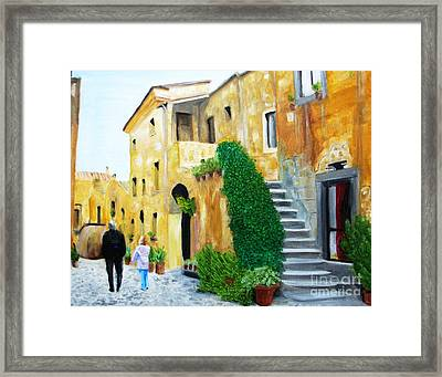 A Stroll With Papa In Italy Framed Print by Nathan Rodholm