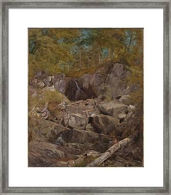 A Study Of Trap Rock Buttermilk Falls Framed Print by John Henry Hill