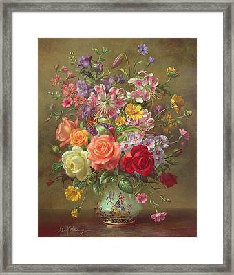 A Summer Floral Arrangement Framed Print by Albert Williams