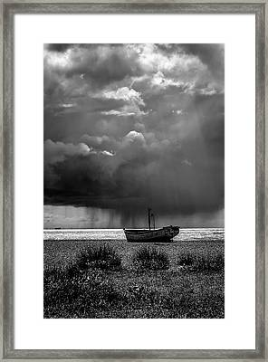 A Summer Squall. A Fine Art Photographic Print Of A Passing Rainstorm Off Of The Coast At Aldeburgh Framed Print