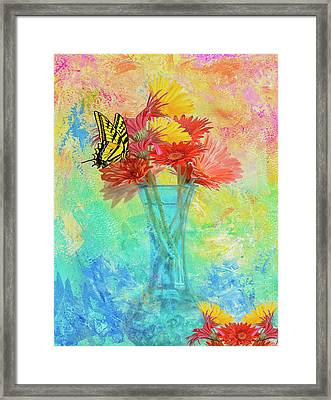 Framed Print featuring the digital art A Summer Time Bouquet by Diane Schuster