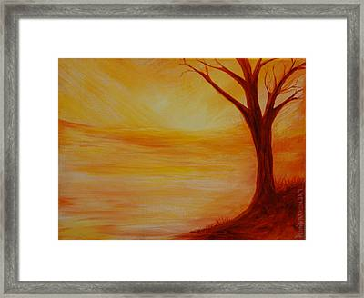 ...a Sun Sets Framed Print by Amy Stewart Hale