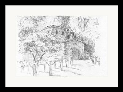 Provence Village Drawings Framed Prints