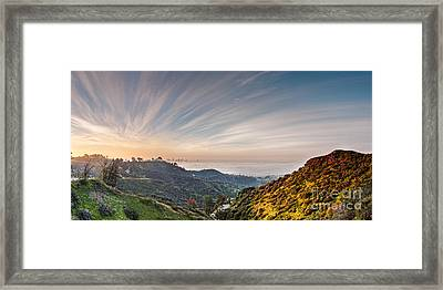 A Sunrise View Of The Griffith Observatory And Downtown Los Angeles From The Hollywood Hills - Cali Framed Print by Silvio Ligutti