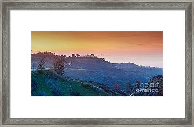 A Sunrise View Of The Griffith Observatory And Downtown Los Angeles - Hollywood Hills California Framed Print by Silvio Ligutti