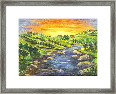 A Sunset In Wine Country Framed Print by Carol Wisniewski