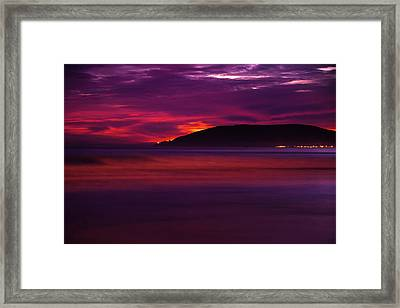 A Surf Sunset - Minimalism Art Framed Print by Gregory Ballos