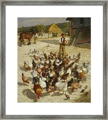 A Sussex Farm Framed Print by Henry Herbert La Thangue