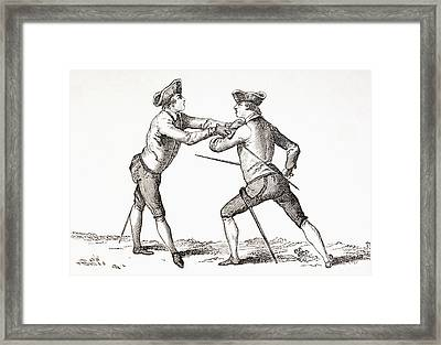 A Swordsman About To Disarm His Framed Print by Vintage Design Pics