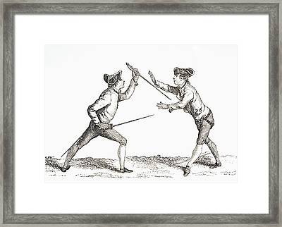 A Swordsman Disarms His Opponent And Is Framed Print by Vintage Design Pics