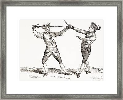 A Swordsman In Position To Thrust After Framed Print by Vintage Design Pics