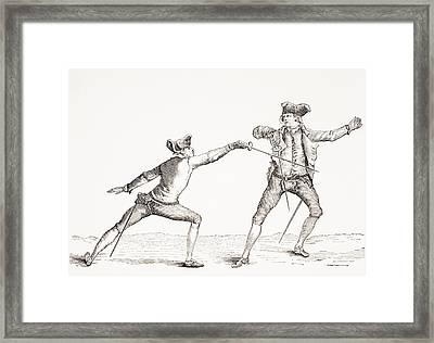 A Swordsman Parries A Thrust From His Framed Print by Vintage Design Pics