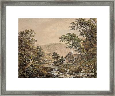 A Sylvan Mountain Landscape With A Stream And Figures Framed Print