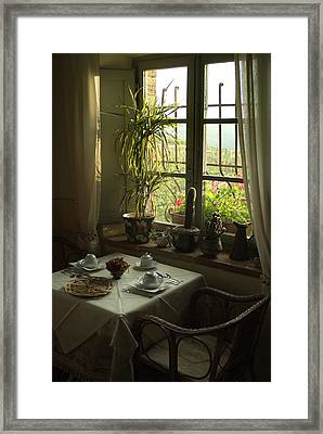 A Table Is Set For Breakfast Framed Print by Todd Gipstein