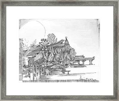 A Temple A Building And Some Trees Framed Print by Padamvir Singh
