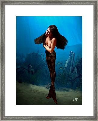 A Temple Mermaid Framed Print by Tray Mead