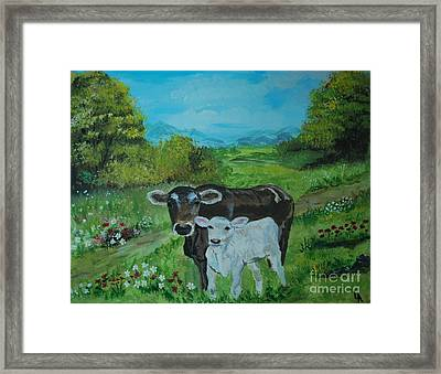 Framed Print featuring the painting A Tender Love by Leslie Allen